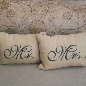 Mr. & Mrs. Denim & Burlap Monogram Pillows